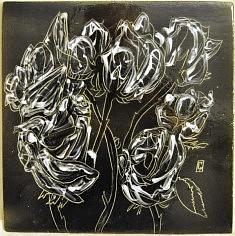 (c) Confais 2014 - Céramique, en collaboration avec Gérard Crociani, potier à Vallauris - Les Roses- Plat 30 x 30 - exemplaire unique