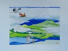 (c) Confais 2021 - Gouache sur papier - 20x30 - Retour du Japon avec Hyosube