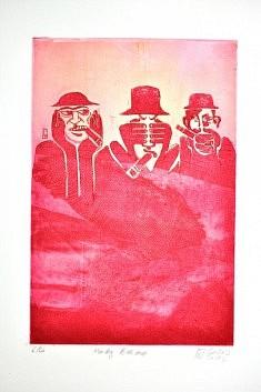 (c) Confais 2012 - Monkey Business - Gravure - eau forte  - tirage 40 x 50 en 30 exemplaires numérotés et signés