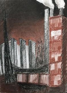 A la tombée de la nuit - 24x32 - Carré conté, sanguine - 2014