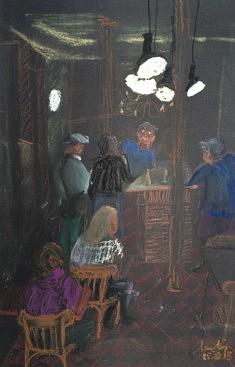 Bar des Buttes Chaumont : l'heure de l'apéro - 32x50 - pastel sec et gras - 2015
