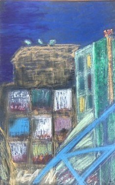 Immeuble en démolition : les entrailles (1) - 50x32 - Pastel gras - 2015
