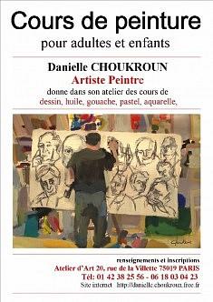 COURS DE DESSIN ET  DE PEINTURE  ATELIERS D'ART  20 rue de la Villette 7509 Paris