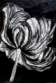 Tulipe, Gravure sur bois, 30 x 40 cm, 2018