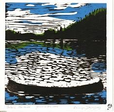 Québec, mon canoé • gravure sur bois couleur • 20x20cm