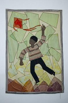"""""""Le cerf volant"""", art textile, 1.20x 1.60 m"""