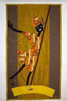 """""""La pluie arrive"""", art textile, 2.80x1.40 m"""