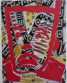 """""""Honte"""" collage papier guouache  20x30cm"""