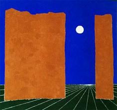 """""""Lune à vue""""  pigments et liant acrylique sur toile de jute 120x120cm"""