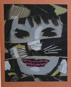 """Masquerade"" collage papier goauche 35x40cm"