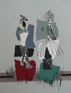 """""""Silhouettes""""collage papier gouache encre de chine 35x40cm"""