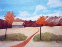 """""""Paysage andin"""" acrylique sur toile, 45x60 cm"""