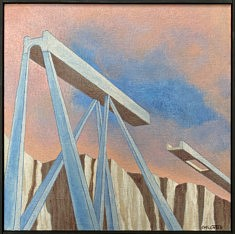 Pont oublié, acrylique 30x30cm