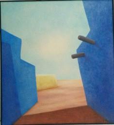 """""""Muros azules"""", acrylique sur toile 80x80 cm"""