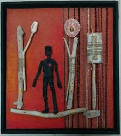 """Oumino sul filo"" assemblage objets, techniques mixtes 35x40cm"