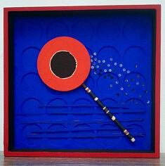 """""""Point de rencontre"""", assemblage en boîte, pigments, papier mâché, 25x25 cm"""