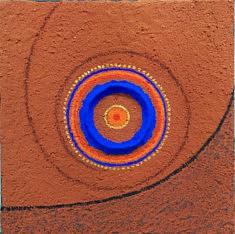 """""""Rotation"""" 20x20 cm, pigment, papier mâché, fusain, terre cuite concassée sur toile."""