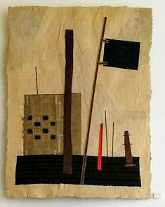 """"""" Sereno"""", collage sur papier mâché, 45x 60 cm"""