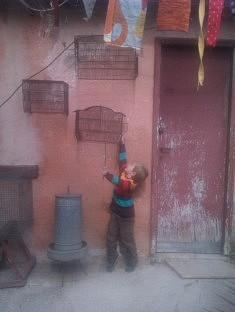 """""""L'enfant aux oiseaux"""" et celui sur la photo prise aux Portes Ouvertes en mai 2018, on dirait le même petit garçon ! Pourtant, 6 ans séparent ces deux photos : celle-ci a été prise à Rome en 2012 aux premiers beaux jours et l'autre date de mai 2018. Qu'il cherche à attraper un des ballons devant ma studette ou qu'il cherche à libérer les oiseaux, il s'agit bien du même élan commun car les cages n'abritent plus d'oiseaux mais le concept d'atteindre l'objectif est plus fort que tout et devient un rêve accessible à portée d'un bout de bois. L'enfant ne change pas, il est comme une réprésentation, une répétition miraculeuse qui ne vieillit pas. Sur mes deux photos, ces petits bonhommes se sont invités devant mon objectif, je ne les connais pas et pourtant ils me paraissent familiers puisqu'ils se ressemblent tellement. Ils cherchent à grandir, l'imaginaire grand ouvert mais j'ai saisi leur âme d'enfant au même âge."""
