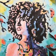 BLM, Afro, résine et acrylique sur toile, 100x100, 2020, Paris
