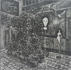Les jardins secrets 1, Eau forte 14,5 X 14,5 cm