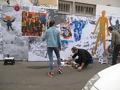 """peinture participative pendant l'exposition """"Acte de Création,Acte de Résistance"""" du 5 Octobre au 15 Octobre 2017"""