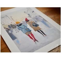 Ballade Parisienne - Gouache sur papier - Format A4