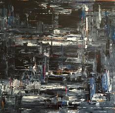 Dock of the bay,  acrylique sur toile 1 m x 1 m