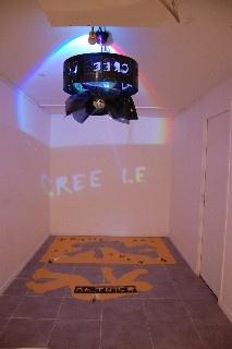 """Installation pour l'expo """"sismographie du genre humain"""" (radiographies, projections murales colorées-80 cm diamètre)"""