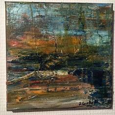 port de nuit : huile sur toile , 20 x 20cm