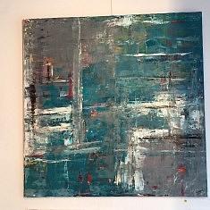 paysage marin, huile sur toile , 1m x 1m