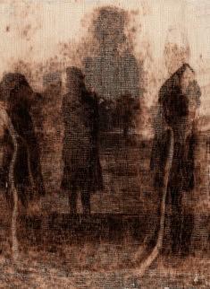 Les 4 soeurs pyrogravure sur toiles 40x30cm 2017