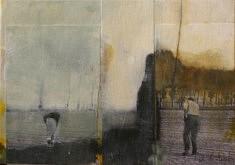 Collage, acrylique et mine de plomb sur carton entoilé, 19 x 27 cm.