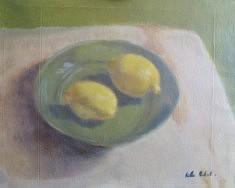 Citrons, acrylique sur toile, 38 x 46 cm.