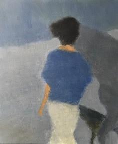 Jeune fille au cheval, acrylique sur toile, 46 x 55 cm.