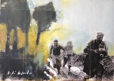 Collage, acrylique et mine de plomb sur carton entoilé, 33 x 46 cm.