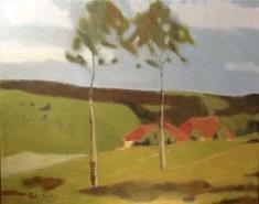 Paysage suisse, acrylique sur paipier marouflé sur toile, 81 x 100 cm.