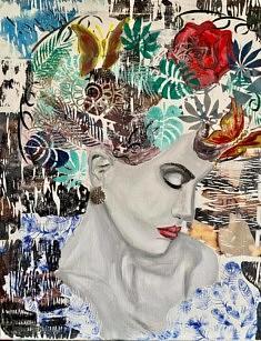 N°147 LA DAME AU BIJOU - Acrylique sur toile 50x60 technique mixte