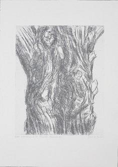 """""""Guardians de les Arbredes - Imarell bis""""  Eau forte sur papier, verni mou,  tirage argent matrice  30x40 cm  sur heinemuhle ou zerkal 76.5 x 57 cm"""