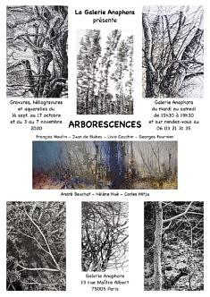 Galerie Anaphora présente :  « Arborescences »  exposition collective, du 16 septembre au 17 Octobre puis reprise du 3 au 7 Novembre 2020. horaires 15h30 à 19h30.