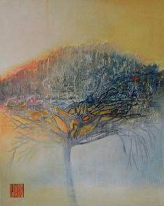 Le pin de février.100 x 80 cm.Techniques mixtes sur toile 2021