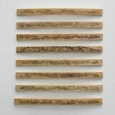 8 Encre dessins sur bois 70cmLx5cm