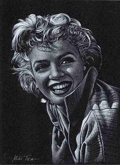 LITHOGRAVURE (2001): Marilyn Monroe, Gravure  d'après photo, faite entièrement à la main