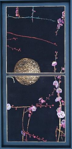 Au clair de lune - 2015 - Pigments de couleur, colle de cerf, encre de Chine et feuilles de cuivre sur cartons - 2x 27,3 x 24,2 cm