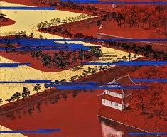 Place du palais - 2013 - Pigments de couleur, colle de cerf, encre de Chine, feuilles d'or - 38 x 45,5 cm