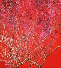 Prunier - 2013 - Encre de chine, Pigments de couleur sur carton - 27 x 24 cm