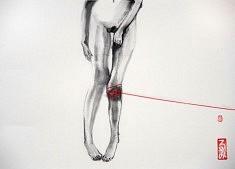 Fil rouge - 2012 - Encre de chine, fil de coton - 25 x 35 cm