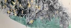 Soupçon automnal - 2019 - Pigments japonais, colle de cerf, encre de Chine et feuilles d'or sur panneaux - 53 x 130,4  cm
