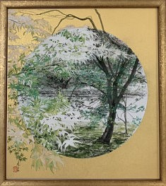 Paysage de Kyoto III - 2020 - Pigments minéraux, Nikawa glu, encre de Chine sur carton - 27,3 x 24,2 cm