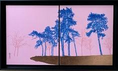 Pins bleus - Portiers de jour -2021 - Peinture chinoise et feuilles de cuivre  sur cartons - 27,3 cm x 24,2 cm x 2